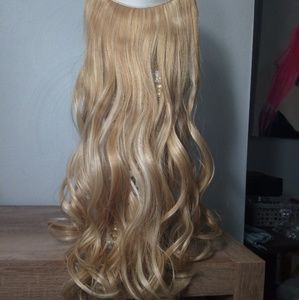 Elastic Natural Blonde Synthetic Human Hair Piece